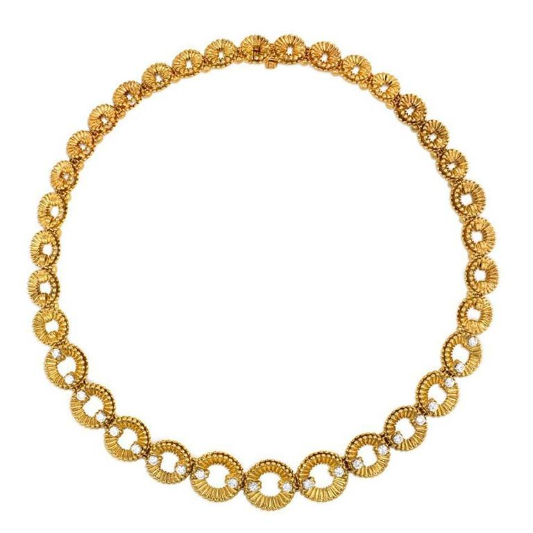 1960s  Van Cleef & Arpels Diamond Gold Link Necklace 1