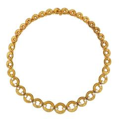 1960s  Van Cleef & Arpels Diamond Gold Link Necklace
