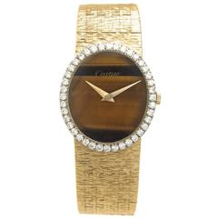 Cartier by Piaget Ladies Yellow Gold Diamond Tiger Eye manual wind Wristwatch