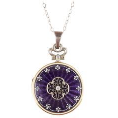 Edwardian Purple Guilloché Enamel Diamond Locket