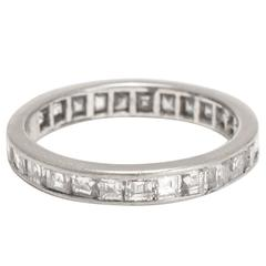 Art Deco 2.0ct Carre Cut Diamond Platinum Eternity Ring