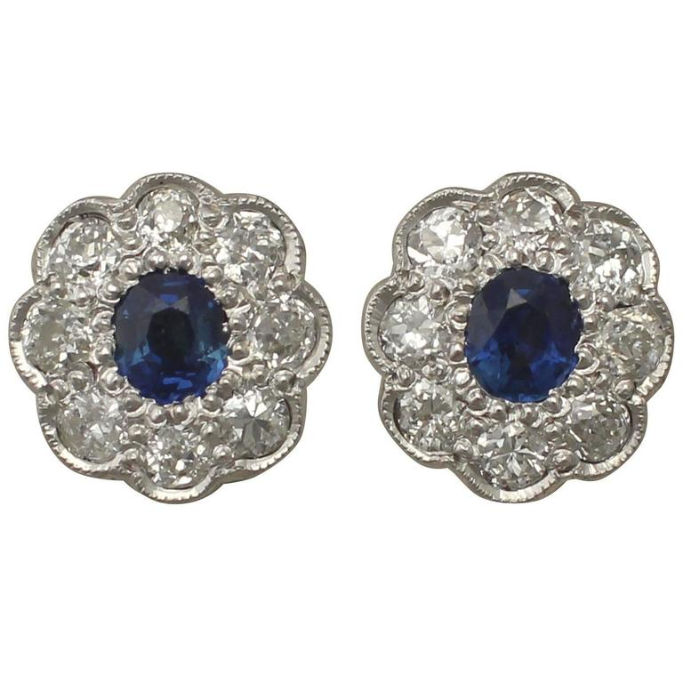 Antique 1920s 0.92Ct Sapphire and 1.02Ct Diamond, 18k White Gold Stud Earrings