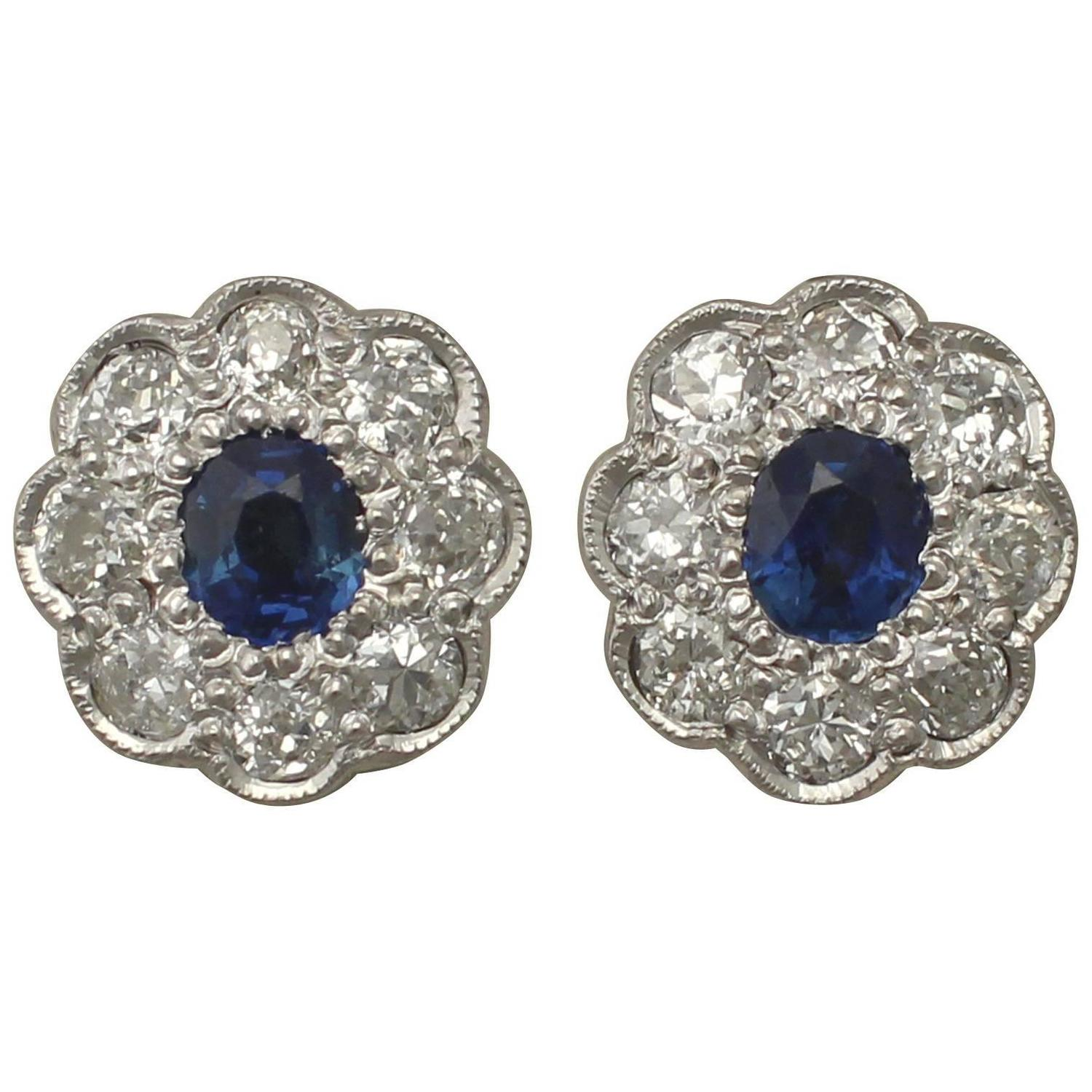 Antique 1920s 0 92Ct Sapphire and 1 02Ct Diamond 18k White Gold