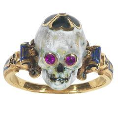 1970s Attilio Codognato Renaissance Revival Enamel Ruby Gold Skull Ring