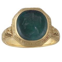 Antique 17th Century Renaissance Florentine  Emerald Intaglio Ring of Faustina