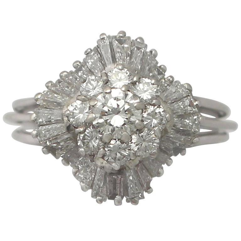 1920s 2.10 Carat Diamond and 18 Karat White Gold Cluster Ring