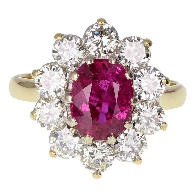 Natural Untreated Thai Ruby Diamond Cluster Gold Ring