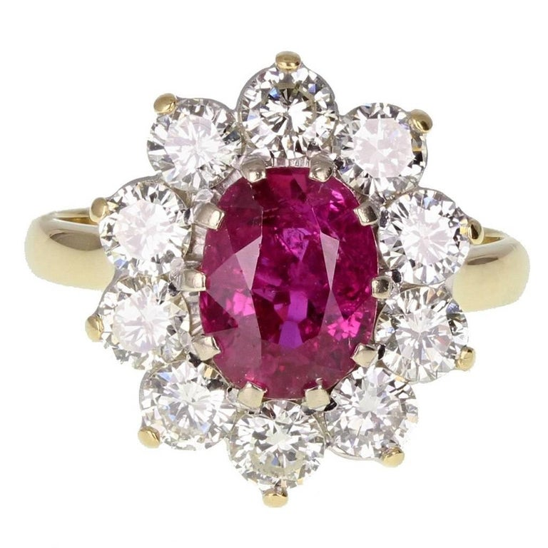 Natural Untreated Thai Ruby Diamond Cluster Gold Ring For Sale