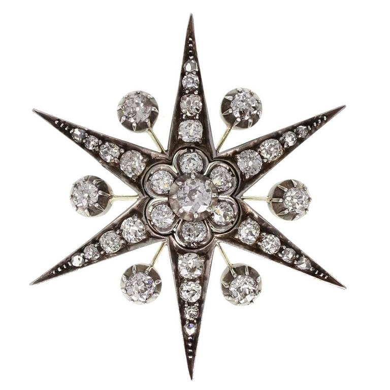 Antique Victorian Diamond Gold Starburst Brooch/Pendant