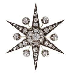 Antique Victorian Diamond Gold Starburst Brooch/Pendant