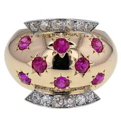 1940s Van Cleef & Arpels Retro Ruby Diamond Gold Ring