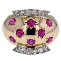 1940s Van Cleef & Arpels Retro Ruby Diamond Gold Ring