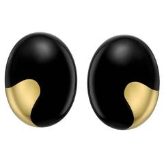 Tiffany & Co. Black Jade Gold Domed Earrings