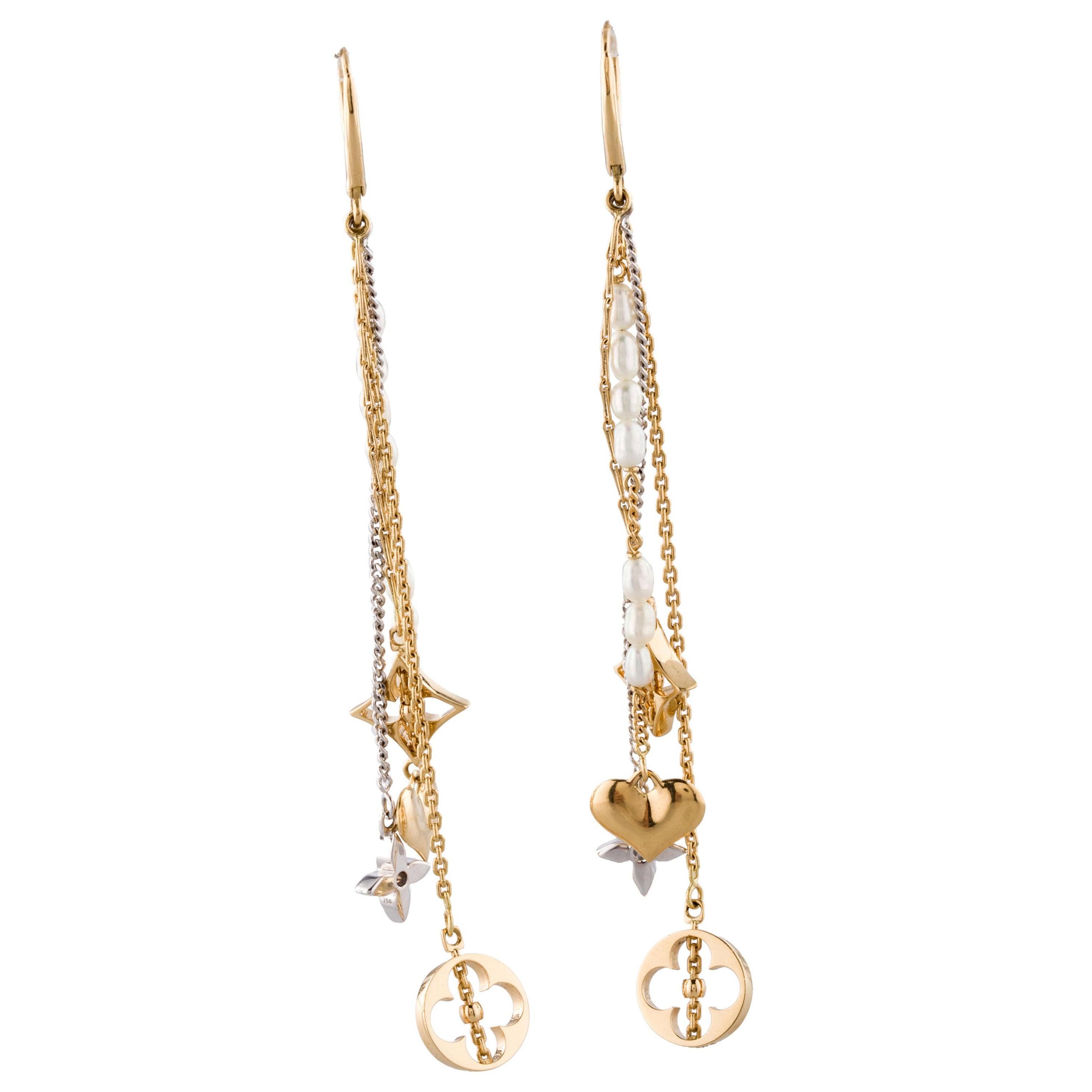 629e0c15e30 Louis Vuitton Monogram Pearl Gold Dangle Earrings at 1stdibs