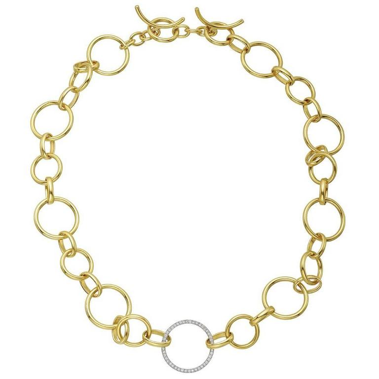 Gold Round and Oval Link Necklace with Diamond Link 1
