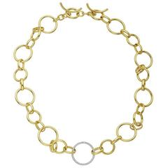 Gold Round and Oval Link Necklace with Diamond Link