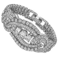 Retro Ribbon Scroll Diamond platinum Bracelet