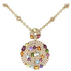 Bulgari Allegra Diamond Gemstone Gold Pendant Necklace
