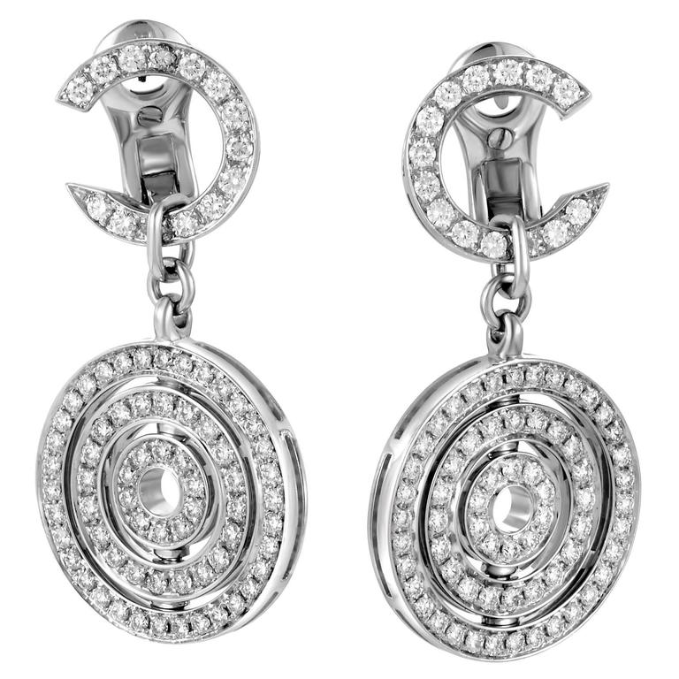 Bulgari Cerchi Full Diamond Pave Gold Drop Earrings For