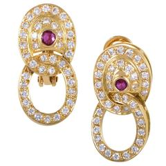 Garrard Diamond Pave Ruby Gold Oval Drop Earrings