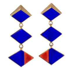 Richard Chavez  Lapis Lazuli Coral Inlay Gold Dangle Earrings