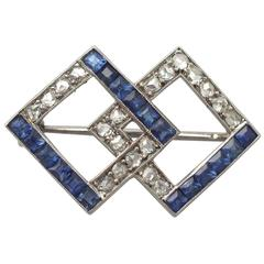 1940s 1.04 Carat Sapphire and 0.63 Carat Diamond, 9 Karat White Gold Brooch