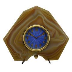 Tilden Thurber Stone and Metal Art Deco Desk Clock