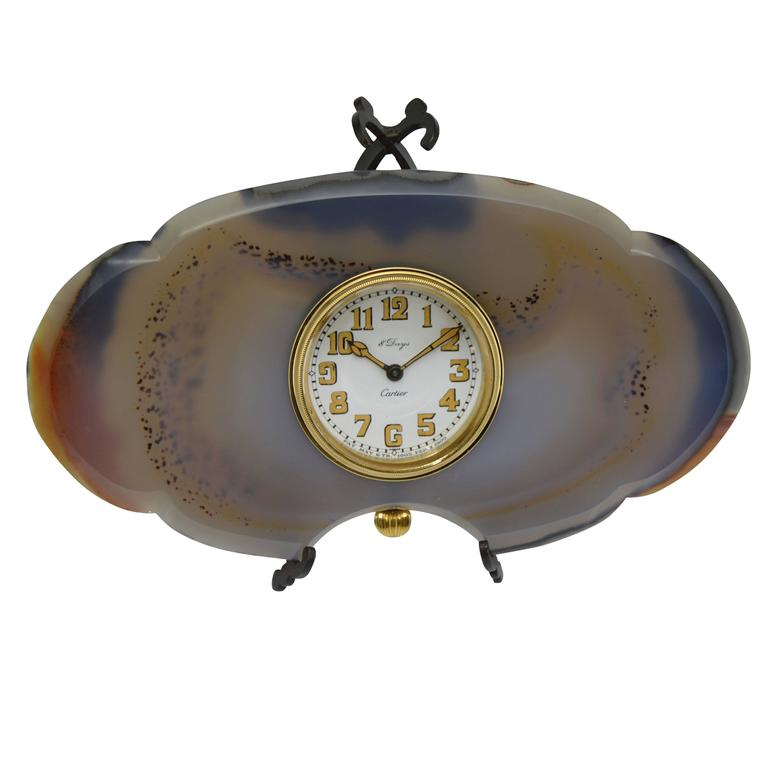 Cartier Stone and Metal Art Deco Agate Stone Desk Clock For Sale