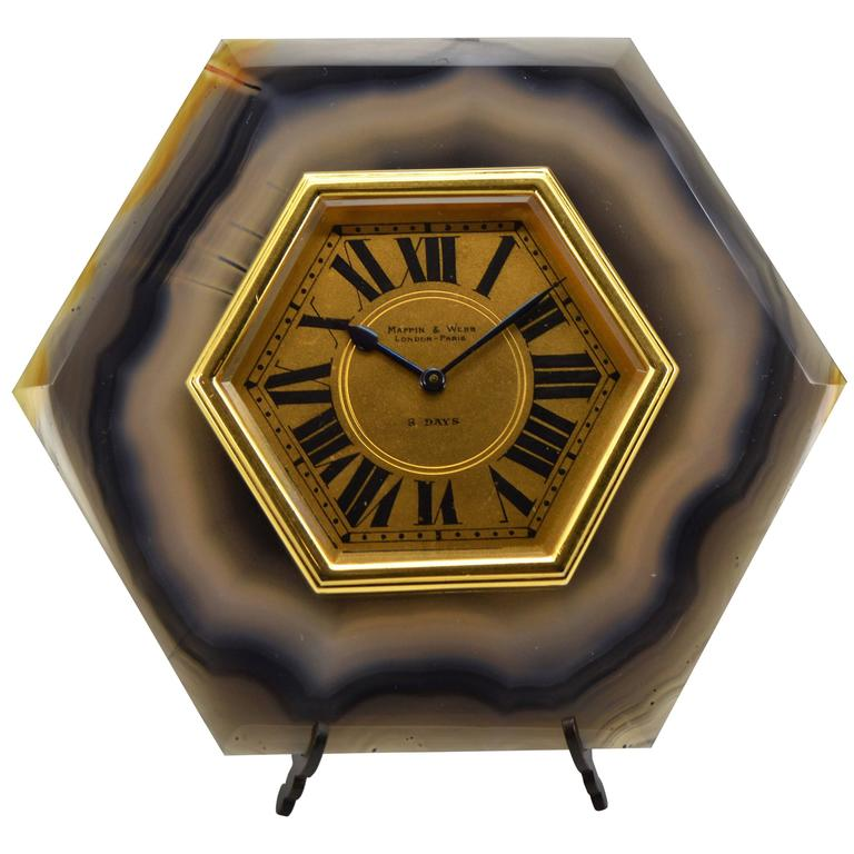 Mappin Webb Agate And Gilded Brass Art Deco Style Desk Clock For
