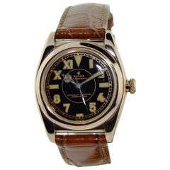 Rolex Watch Company Rose Gold Stainless Steel Bubble Back Automatic Wristwatch