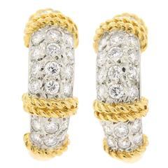 1970s Fred Paris Diamond Gold half hoop Earrings