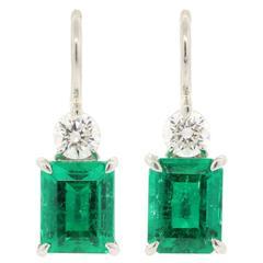 Colombian Emerald Diamond Platinum Earrings
