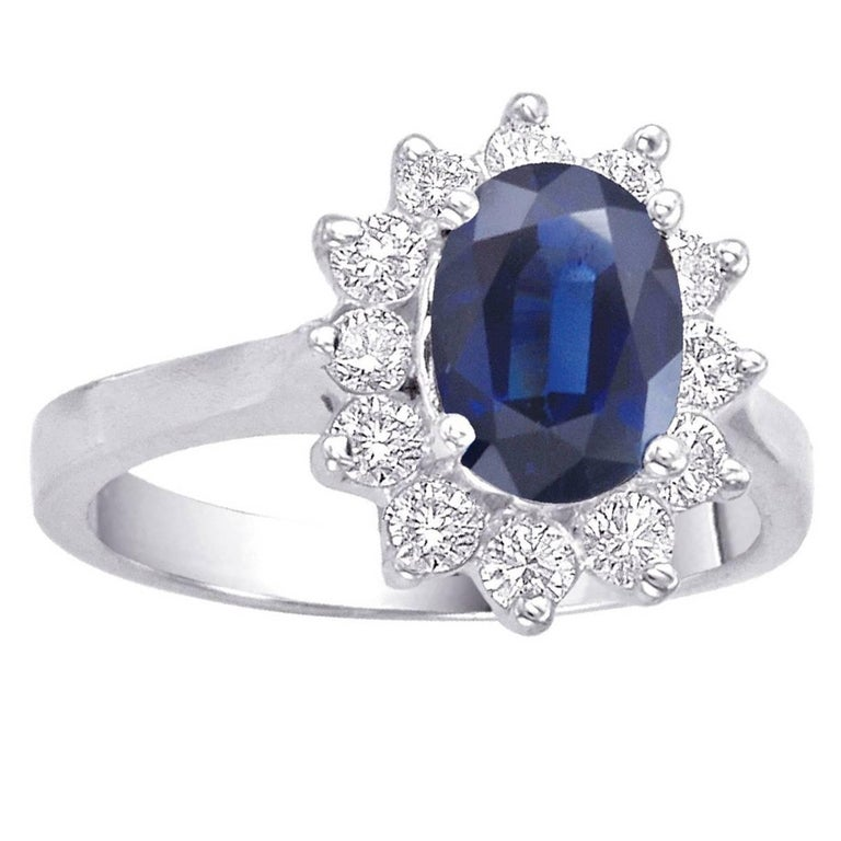 Oval Sapphire and Diamond Engagement Ring 1.79 Carat For Sale