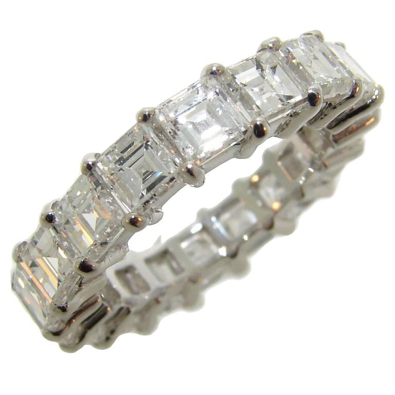 Square Step Cut Diamond Gold Eternity Band Ring For