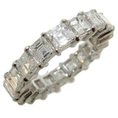 Square Step Cut Diamond Gold Eternity Band Ring