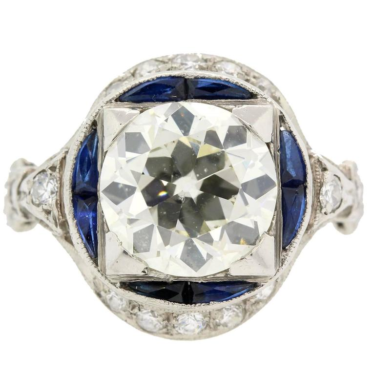 Art Deco Old Cut Diamond Sapphire And Platinum Ring For Sale