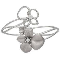 Roberto Coin Diamond gold Cento Flower Bypass Cuff bracelet