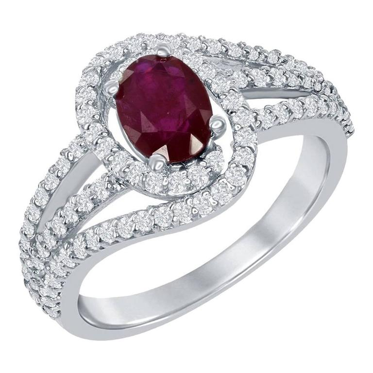 Oval Ruby Ring with Diamond Micro-Pave Setting  For Sale