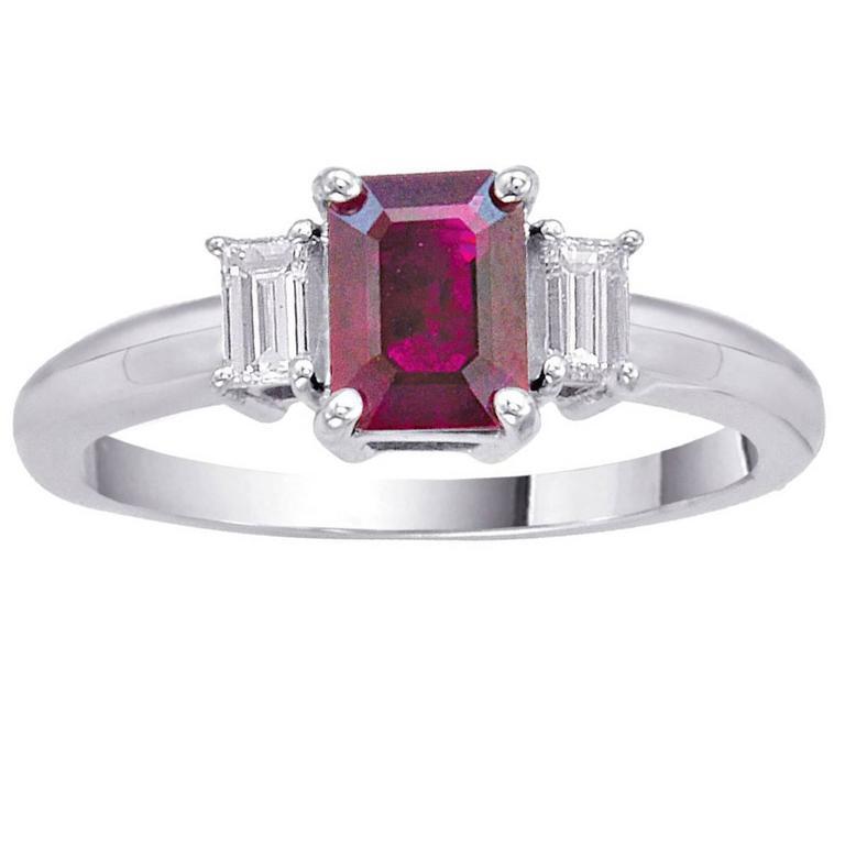 Emerald Cut Cushion Ruby Diamond Gold Ring 1.28 Carat For Sale
