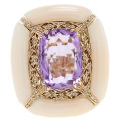 Amethyst Pink Coral Diamond Gold Ring