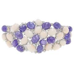 1970s  Tanzanite Pink Coraland  Diamond Gold Bracelet