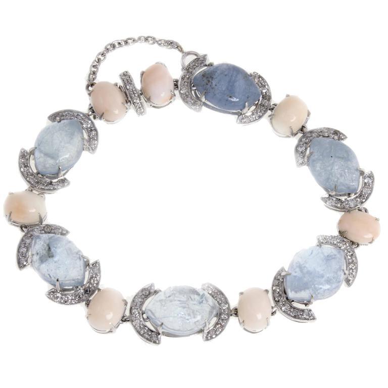 Aquamarine Coral Diamond Link Gold Bracelet For Sale