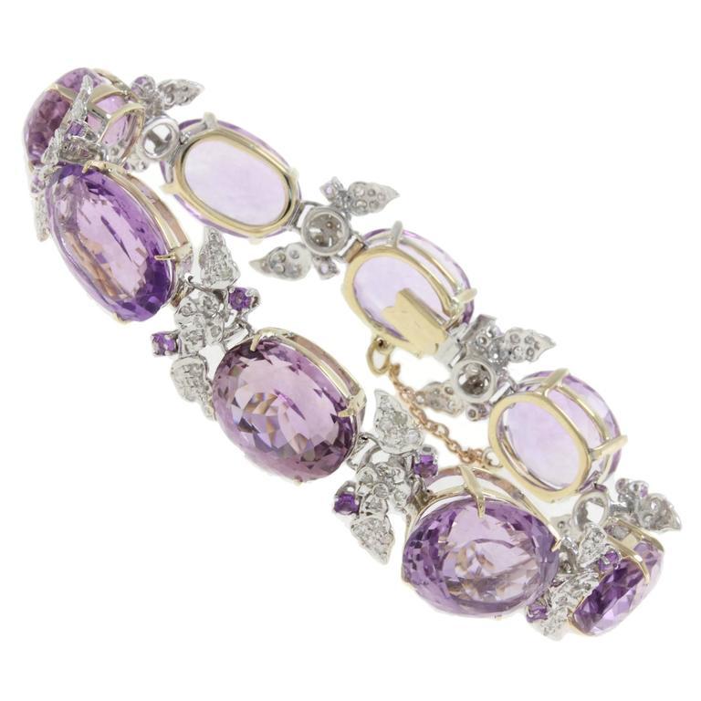 Amethyst Diamond Two Color Gold Link Bracelet