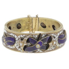 Three Diamond Enamel Gold Bracelet
