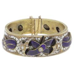 Three Diamond Enamel Gold Bracelet