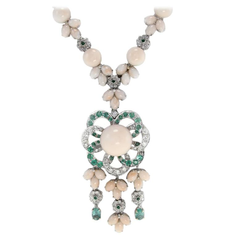 Emerald Diamond Gold Rose Coral Drop Necklace