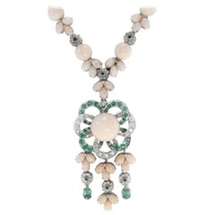 Emeralds,DiamondsPink Buttons and Little Drops Corals,White Gold,Link Necklace