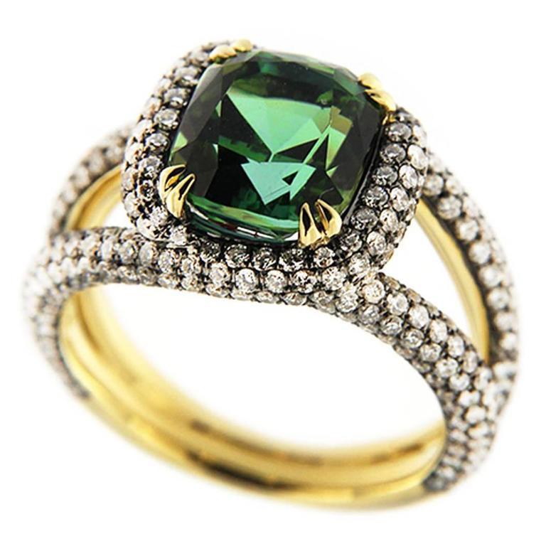Jona Green Tourmaline Diamond Gold Ring
