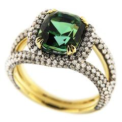 Jona Green Tourmaline White Diamond 18 Karat Yellow Gold Ring