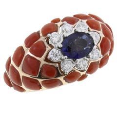 Sapphire Coral Diamond Gold Ring
